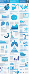 Medical infographics. Presentation set,Big three column