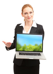 Woman holding laptop with screensaver, isolated on white