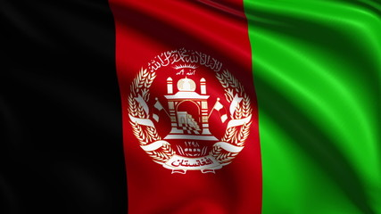 flag of Afghanistan with fabric structure; looping