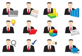 Businessman Color Vector Icon Set