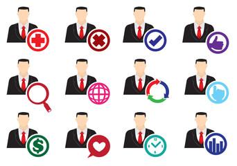 Businessman Web Interface Icon Set