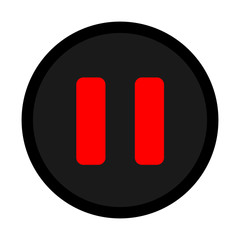 red black pause icon vector