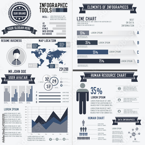 Corporate infographic resume elements data template - 70385701