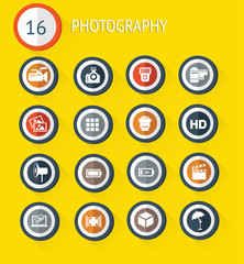 Photography flat icon set on yellow background,vector