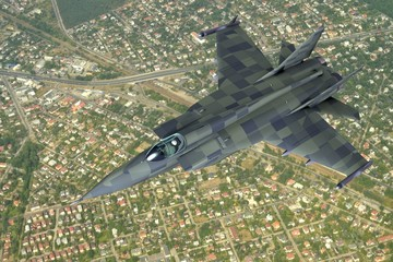3d model of jet fighter above the suburban landscape