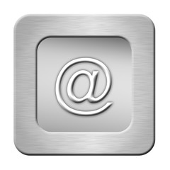 silver email button on white background