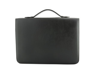 black leather case isolated on white