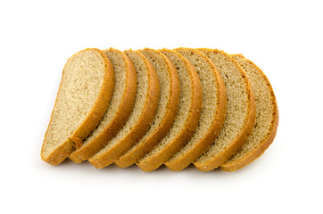 pile of pieces of bread isolated on white
