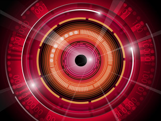Red eyeball with binary code technology background