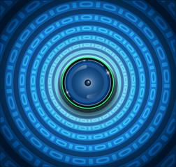 Spyware- Eyeball and binary code