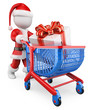 3D white people. Santa Claus shopping Christmas gifts