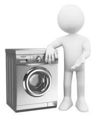 3D white people. Modern Washing Machine