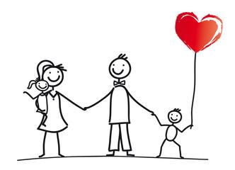 Junge Familie mit Herz