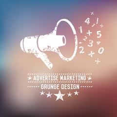 Advertise marketing badge on blur background