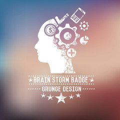 Brain storm badge on blur background,vector