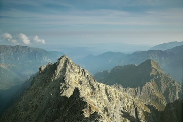 View from the top of Rysy in the Polish Tatras