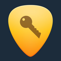 Guitar pick with a key