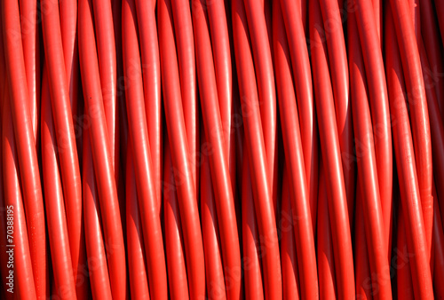 background of red electric cable insulating rubber - 70388195
