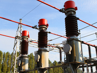 high-voltage switches in outdoor power station