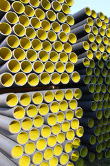 yellow corrugated pipes for laying electric cables and optical f