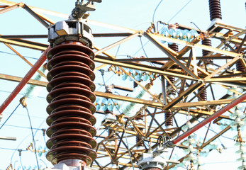 giant high-voltage breaker in outdoor power station
