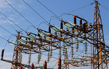 insulators in a power plant with high voltage cables