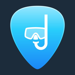 Guitar pick with a diving goggles
