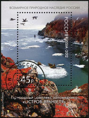 "Leinwanddruck Bild RUSSIA - 2012: shows natural system of ""Wrangel Island"" Reserve"