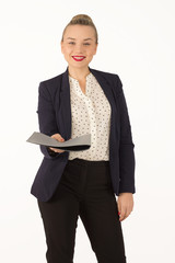 business young woman giving a folder with documents