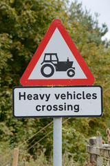 Heavy Vehicles crossing sign and signpost