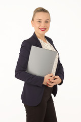 Business woman in a jacket with a folder