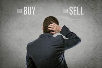 Confused financial broker thinking of investment solution