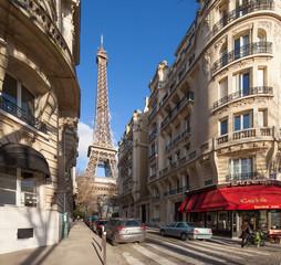 Paris Straßenszene mit Eiffelturm