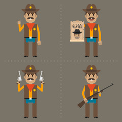 Sheriff holds weapon in different poses