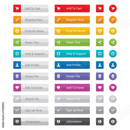 Web button set in various colours. - 70389125