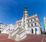 Zamosc, Poland. Historic buildings with the town hall. - 70389380