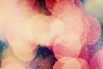 Christmas bokeh background and snow blizzard. Glitter and light