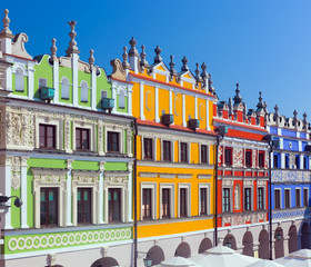Zamosc, Poland. Historic buildings of the old town