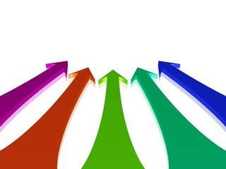 fünf bunte Pfeile zeigen auf eine Stelle
