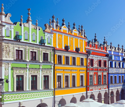 canvas print picture Zamosc, Poland. Historic buildings of the old town