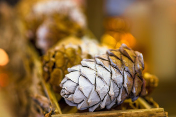 pine cone for decorating a Christmas tree close-up