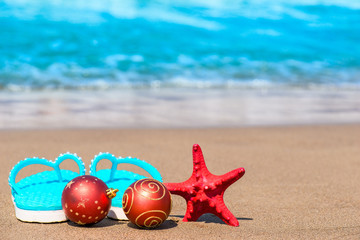 Shooting Christmas attributes on the beach