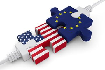 cooperation Usa Eu Puzzleteile verbinden
