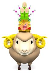 Kadomatsu On Smile Sheep's Head For Post Card