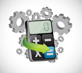 turning gears and calculator illustration design