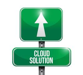 cloud solution street sign illustration design