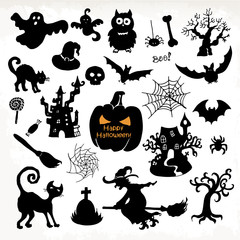 Halloween icon set. Hand draw vector illustration