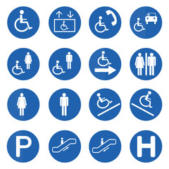 Blue circle handicap signs vector set