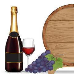 Bottle wine,Grape,Glass wine and wooden barrel ,Vector illustrat