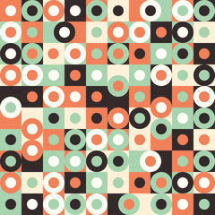 Seamless pattern with multicolored large circles and squares.